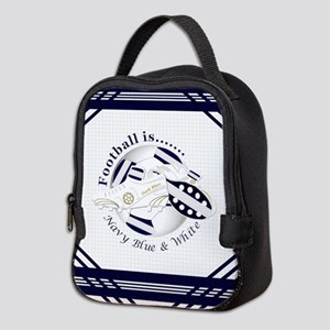 Navy Blue and White Football Soccer Neoprene Lunch