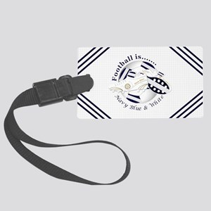 Navy Blue and White Football Soccer Luggage Tag