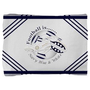 Navy Blue and White Football Soccer Pillow Sham