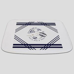 Navy Blue and White Football Soccer Bathmat