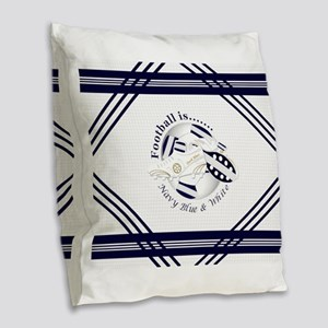 Navy Blue and White Football Soccer Burlap Throw P