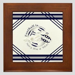 Navy Blue and White Football Soccer Framed Tile