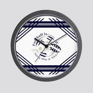 Navy Blue and White Football Soccer Wall Clock