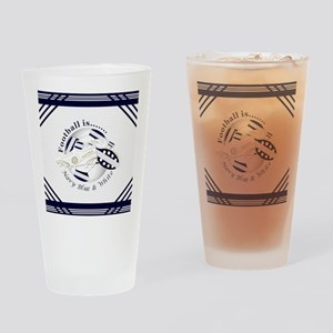 Navy Blue and White Football Soccer Drinking Glass