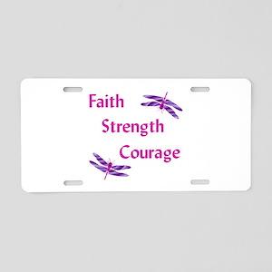 Faith Strength Courage Aluminum License Plate