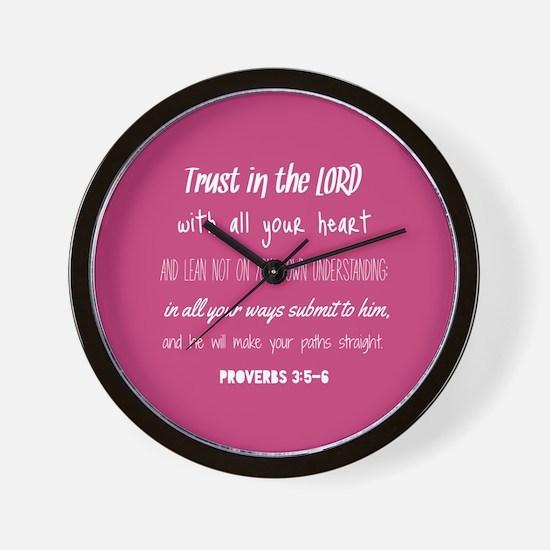 Bible Verse Gifts Proverbs 3:5-6 Wall Clock