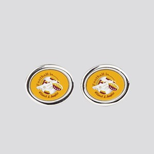 Claret and Amber Football Soccer Oval Cufflinks