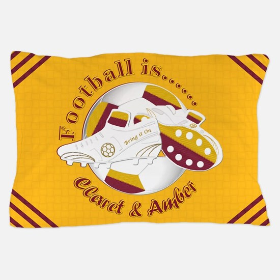 Claret and Amber Football Soccer Pillow Case