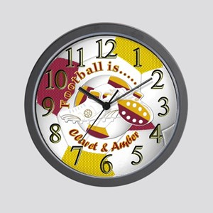 Claret and Amber Football Time Wall Clock