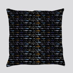 27 Sharks in negative pattern Everyday Pillow