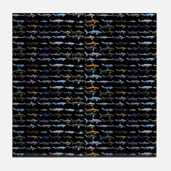 27 Sharks in negative pattern Tile Coaster