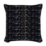 27 Sharks in negative pattern Woven Throw Pillow