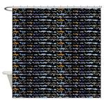 27 Sharks in negative pattern Shower Curtain