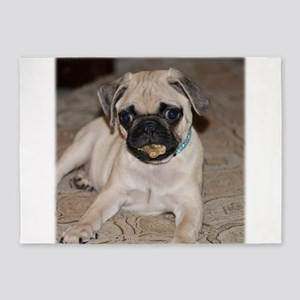 Cute Pug Puppy With Treat 5'x7'Area Rug