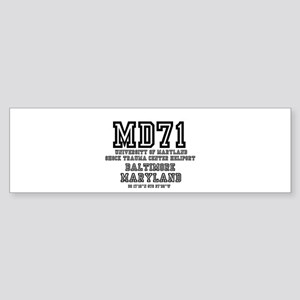 UNIVERSITY AIRPORT CODES - MD71 - U Bumper Sticker