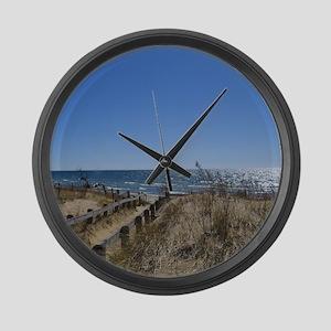 Beach walkway Large Wall Clock