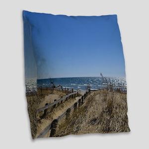 Beach walkway Burlap Throw Pillow