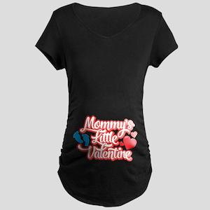 Emoji Mommy's Little Valent Maternity Dark T-Shirt