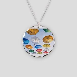 Umbrellas Necklace Circle Charm