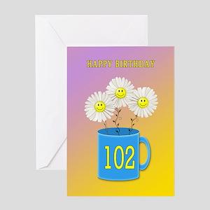 102nd birthday, smiling daisy flowers Greeting Car
