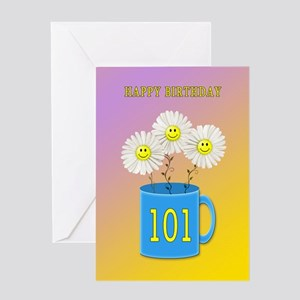 101st birthday, smiling daisy flowers Greeting Car