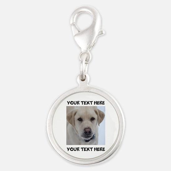 Dog Labrador Retriever Yellow Silver Round Charm