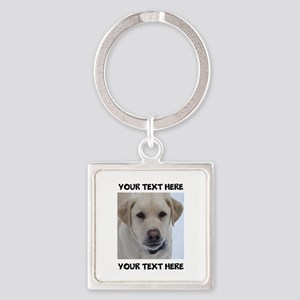 Dog Labrador Retriever Yellow Square Keychain
