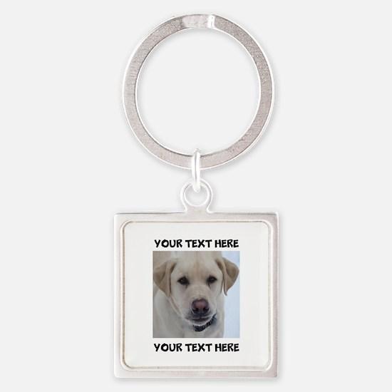 Dog Labrador Retriever Yellow Square Keychain