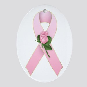 Breast Cancer Ribbon 2 Oval Ornament