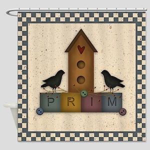 Prim Birdhouse Shower Curtain