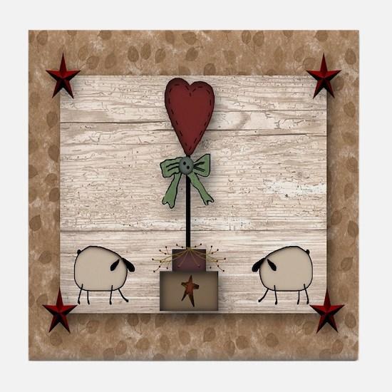 Heart Topiary Tile Coaster