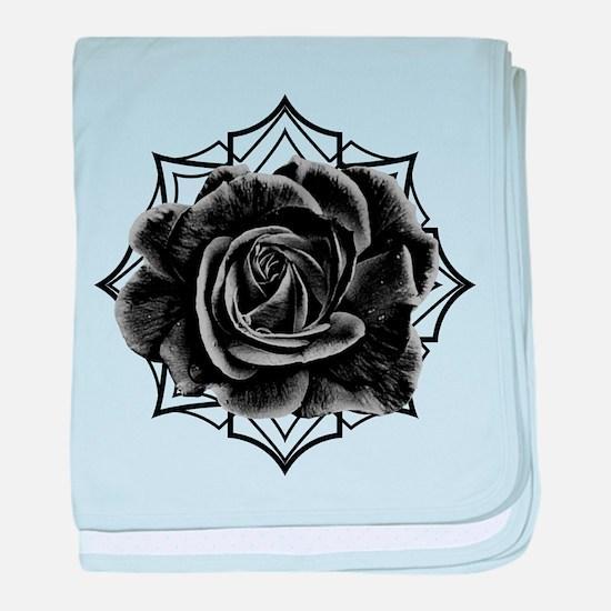 Black Rose On Gothic baby blanket