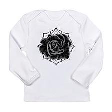 Black Rose On Gothic Long Sleeve T-Shirt