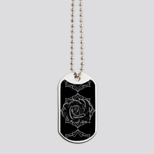 Black Rose On Gothic Dog Tags