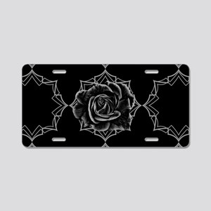 Black Rose On Gothic Aluminum License Plate