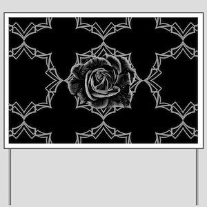 Black Rose On Gothic Yard Sign