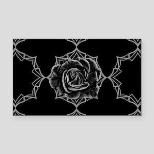 Black Rose On Gothic Rectangle Car Magnet