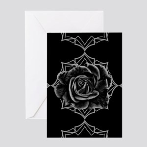 Black Rose On Gothic Greeting Cards