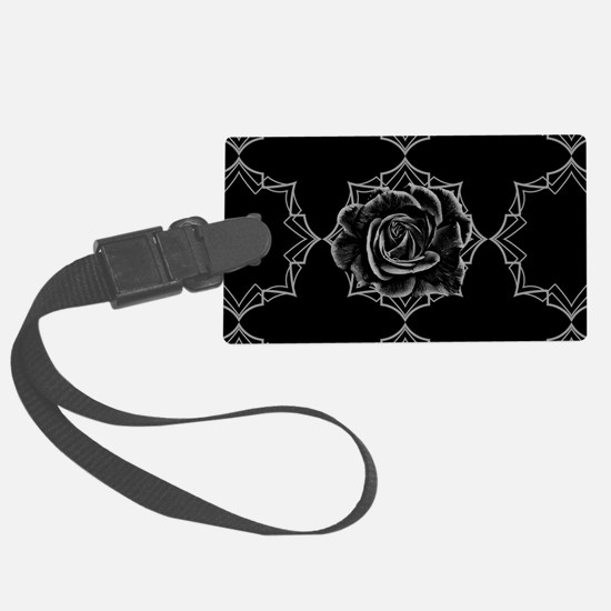 Black Rose On Gothic Luggage Tag