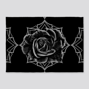 Black Rose On Gothic 5'x7'Area Rug