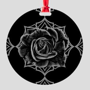 Black Rose On Gothic Ornament