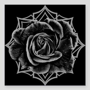 "Black Rose On Gothic Square Car Magnet 3"" x 3"""