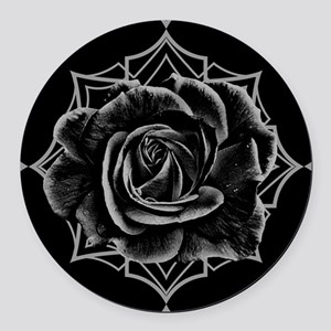 Black Rose On Gothic Round Car Magnet