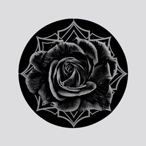 Black Rose On Gothic Button
