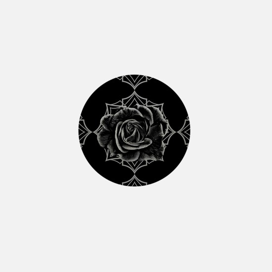 Black Rose On Gothic Mini Button