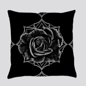 Black Rose On Gothic Everyday Pillow