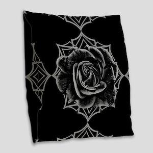 Black Rose On Gothic Burlap Throw Pillow