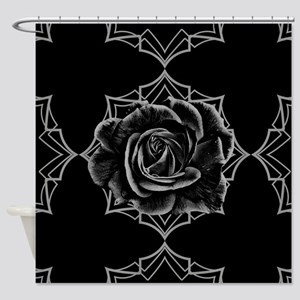 Black Rose On Gothic Shower Curtain