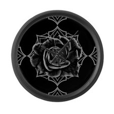 Black Rose On Gothic Large Wall Clock