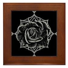Black Rose On Gothic Framed Tile